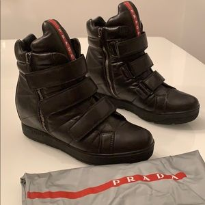 Prada Double Zip Velcro Strap Leather Booties!